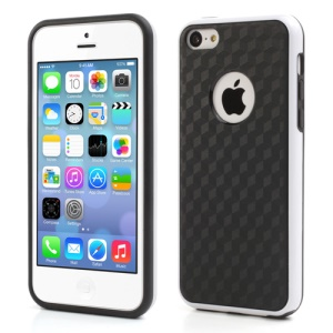 Cool 3D Cube TPU & Plastic Hybrid Case Cover Accessory for iPhone 5C - Black / White