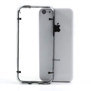 Black for iPhone 5c Glossy Transparent PC & TPU Hybrid Case