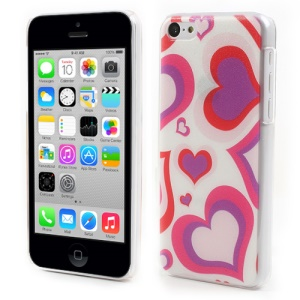 Colored Hearts Embossed Hard Protector Case for iPhone 5c