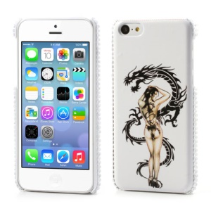 Nude and Dragon Leather Rhinestone Hard Case for iPhone 5C