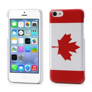 For iPhone 5C Leather Skin Hard Cover Canadian Maple Leaf Flag Design