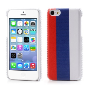 Russian Flag Leather Rhinestone Hard Cover for iPhone 5C