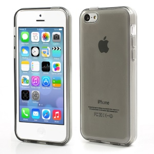 Grey Glossy Outer Frosted Inner TPU Gel Cover Case for iPhone 5C