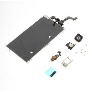 OEM Iron Plate + Home Button + Front Camera with Sensor Flex Cable + Sensor IC Holder + Home Button Flex Cable + Earpiece Etc Parts for iPhone 5c - Black