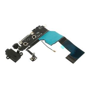 For iPhone 5c Charging Port Dock Connector Flex Cable w/ Earphone Jack (OEM, not brand new) - Black
