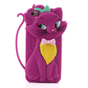 Cute Bow Tie Lovecat Silicone Cover for iPhone SE 5s 5 - Rose
