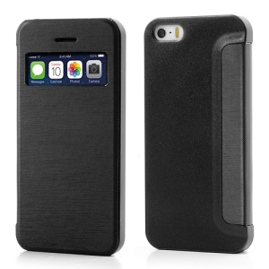 Black Slim Window View Leather Flip Cover for iPhone SE 5s 5