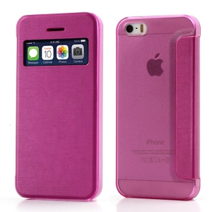 Rose Slim Window View Leather Flip Case for iPhone SE 5s 5