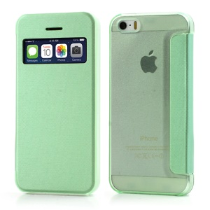 Green for iPhone SE 5s 5 Slim Window View Protective Leather Case