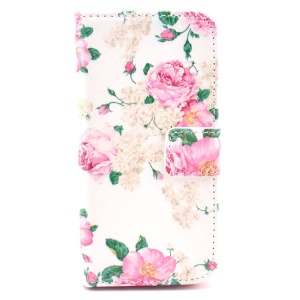 Elegant Pink Roses Pattern Leather Wallet Case for iPhone SE 5s 5 w/ Stand