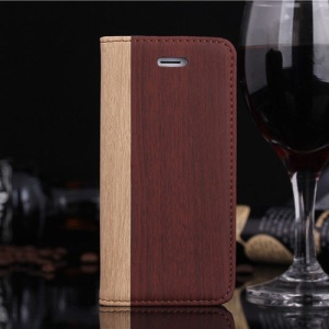 Wood Pattern Leather Stand Case w/ Card Slot for iPhone SE 5s 5 - Red