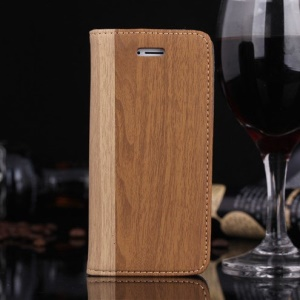 Wood Pattern for iPhone SE 5s 5 Leather Stand Case w/ Card Slot - Brown