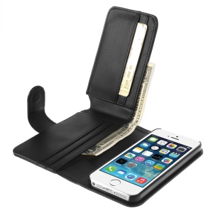 Multiple Card Slots Wallet Smooth Leather Case for iPhone SE 5s 5 - Black
