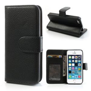 Litchi Skin Leather Card Holder Case w/ Stand for iPhone SE 5s 5 - Black