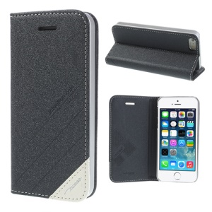 TS-CASE Genuine Leather Stand Case Cover for iPhone SE 5s 5 - Black