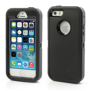 Impact Resistant PC & Silicone Hybrid Case for iPhone SE 5s 5, with Touchable Front Film - Black
