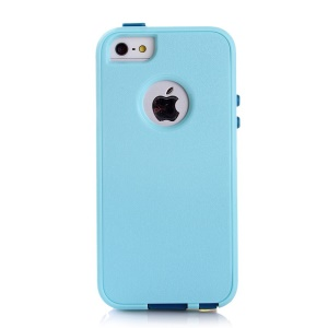 Shockproof Drop-resistant PC + TPU Case Cover for iPhone SE 5s 5 - Baby Blue