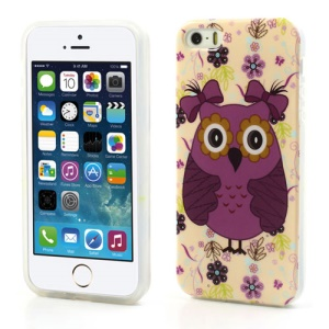 Glossy IMD TPU Case for iPhone SE 5s 5 Girl Owl Wearing Bowknots Design