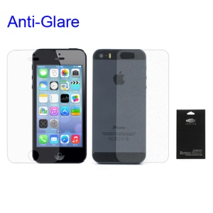 For iPhone 5S Anti-glare Front & Back Screen Protector (with Package)