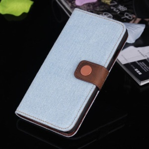 Jeans Cloth Leather Magnetic Case w/ Card Slots for iPhone 6s / 6 4.7 inch - Baby Blue