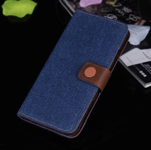 Jeans Cloth Stand Leather Card Holder Case for iPhone 6s / 6 4.7 inch - Dark Blue