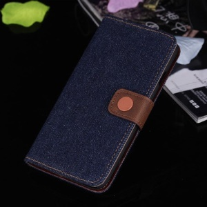 Jeans Cloth Stand Leather Card Holder Cover for iPhone 6s / 6 4.7 inch - Black Blue
