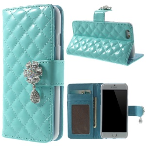 Rhinestone Flower Magnetic Rhombus Pattern Glossy Leather Wallet Case for iPhone 6s / 6 4.7 inch - Blue