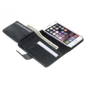 Multiple Card Slots Crazy Horse Leather Magnetic Case for iPhone 6s 6 4.7 inch - Black