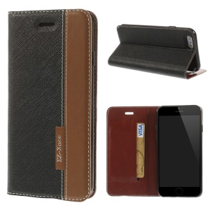 Cross Texture Leather Stand Case w/ Card Slot for iPhone 6s / 6 4.7 inch - Black / Brown