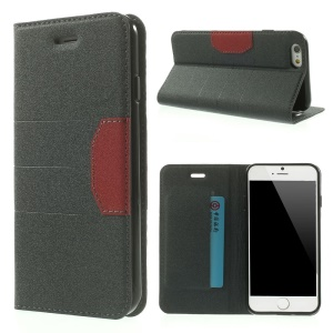 Sand-like Textured PU Leather Stand Case for iPhone 6s / 6 4.7 inch - Dark Grey