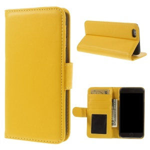 PU Leather Flip Wallet Stand Cover for iPhone 6s / 6 4.7 inch - Yellow