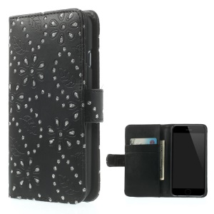 Maple Leaf Flower PU Leather Wallet Stand Case for iPhone 6s / 6 4.7 inch - Black