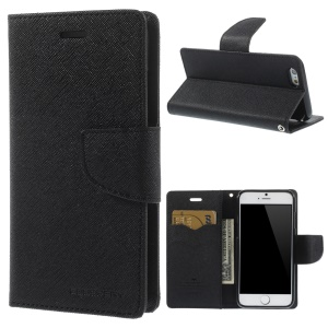 Mercury Goospery Fancy Diary Leather Case with Stand for iPhone 6s / 6 4.7 inch - Black