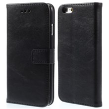 Retro Simulation Leather Wallet Stand Case for iPhone 6s / 6 4.7 inch - Black