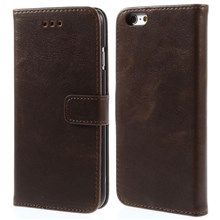 Retro Simulation Leather Wallet Stand Cover Shell for iPhone 6s / 6 4.7 inch - Coffee