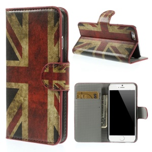 Vintage UK National Flag Leather Wallet Stand Cover for iPhone 6 4.7 inch