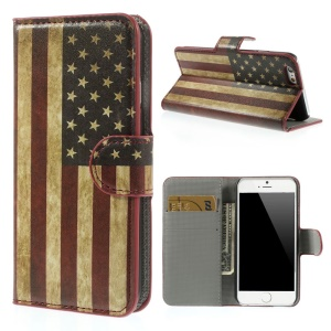 Retro USA National Flag Leather Wallet Stand Case for iPhone 6 4.7 inch