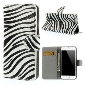 Zebra Stripes Leather Wallet Stand Case Shell for iPhone 6 4.7 inch