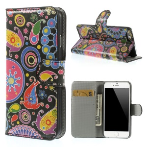 Paisley Flowers Leather Stand with Card Slot Shell for iPhone 6 4.7 inch