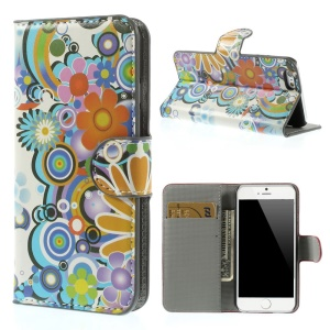 Colorized Flowers Leather Stand with Card Slot Case for iPhone 6s / 6 4.7 inch