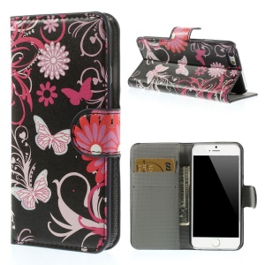 Butterfly Flowers Leather Stand with Card Slot Cover for iPhone 6 4.7 inch