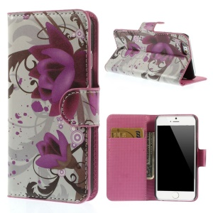 Elegant Lotus Folio Leather Stand with Card Slot Cover Shell for iPhone 6 4.7 inch