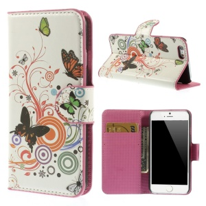 Butterfly Circles Folio Leather Stand Wallet Case for iPhone 6s / 6 4.7 inch