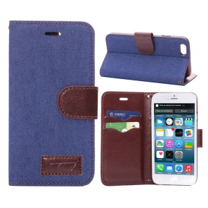 Jeans Cloth Skin Card Slots Leather Stand Cover for iPhone 6s / 6 4.7 inch - Dark Blue
