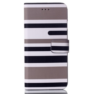 Horizontal Lines Card Slots Leather Stand Case for iPhone 6s / 6 4.7 inch - Grey
