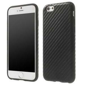Carbon Fiber Leather Coated Flexible TPU Back Case for iPhone 6s / 6 4.7 inch - Black