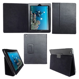 Folding Leather Stand Case for New iPad 2nd 3rd 4th Gen - Black