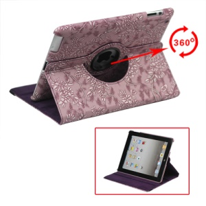 360 Degree Rotary Flowers Embossing Stand Case Leather for New iPad 2 3 4 - Purple