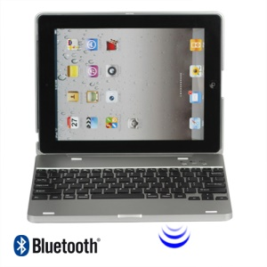Lastest Wireless Bluetooth Keyboard Plastic Case for iPad 2 3 4 - Silver