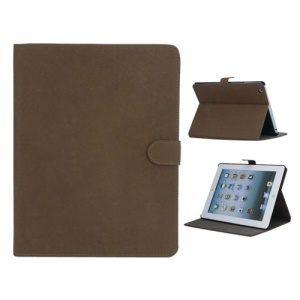 Vintage Smooth Matte Leather Stand Case for The New iPad 3 iPad 2 4 with Stand - Dark Brown